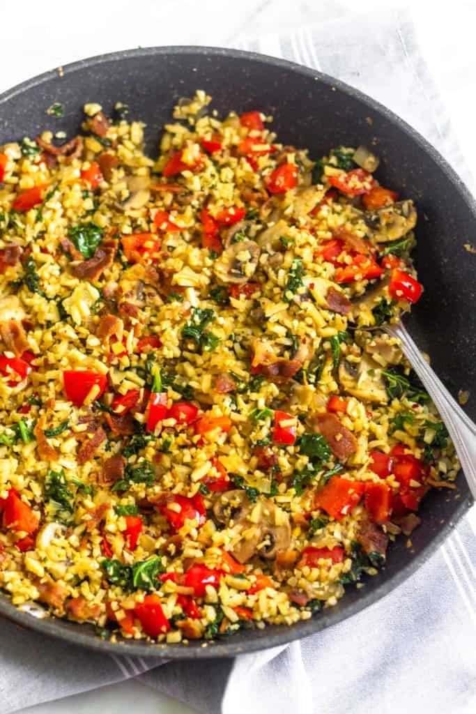 Skillet filled with Paleo Breakfast Fried Rice