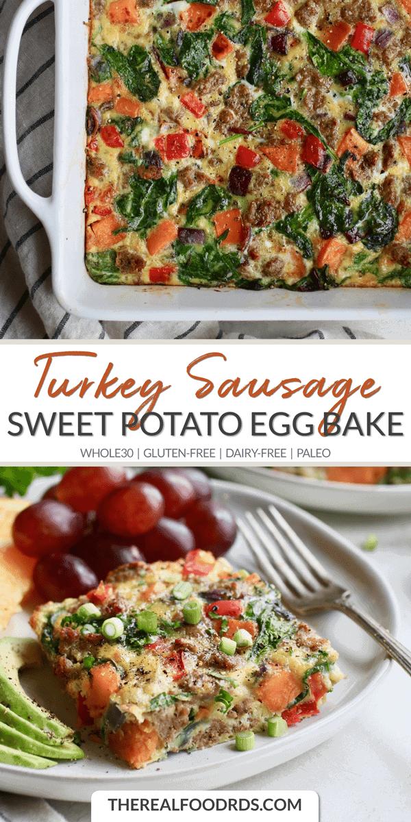 Long Pin Image of Turkey Sausage Sweet Potato Egg Bake