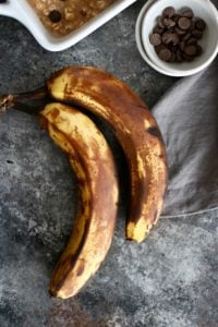 Photo of ripe bananas for the Banana Chocolate Chip Baked Oatmeal
