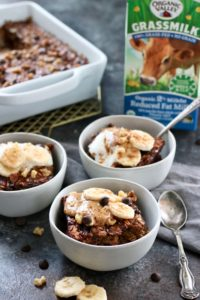 photo of 1/2 gallon carton of Organic Valley Grassmilk Milk along with single servings of Banana Chocolate Chip Baked Oatmeal.