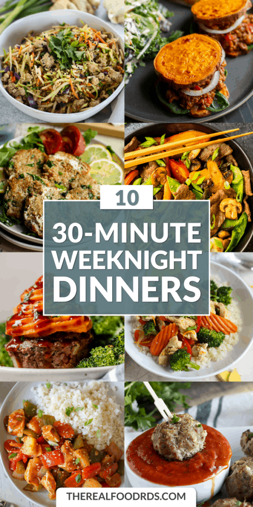Long Pin Image for 10 30-Minute Weeknight Dinners