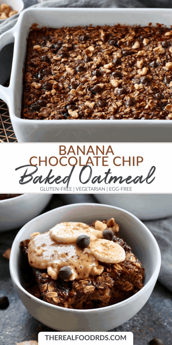 Long Pin Image for Banana Chocolate Chip Baked Oatmeal
