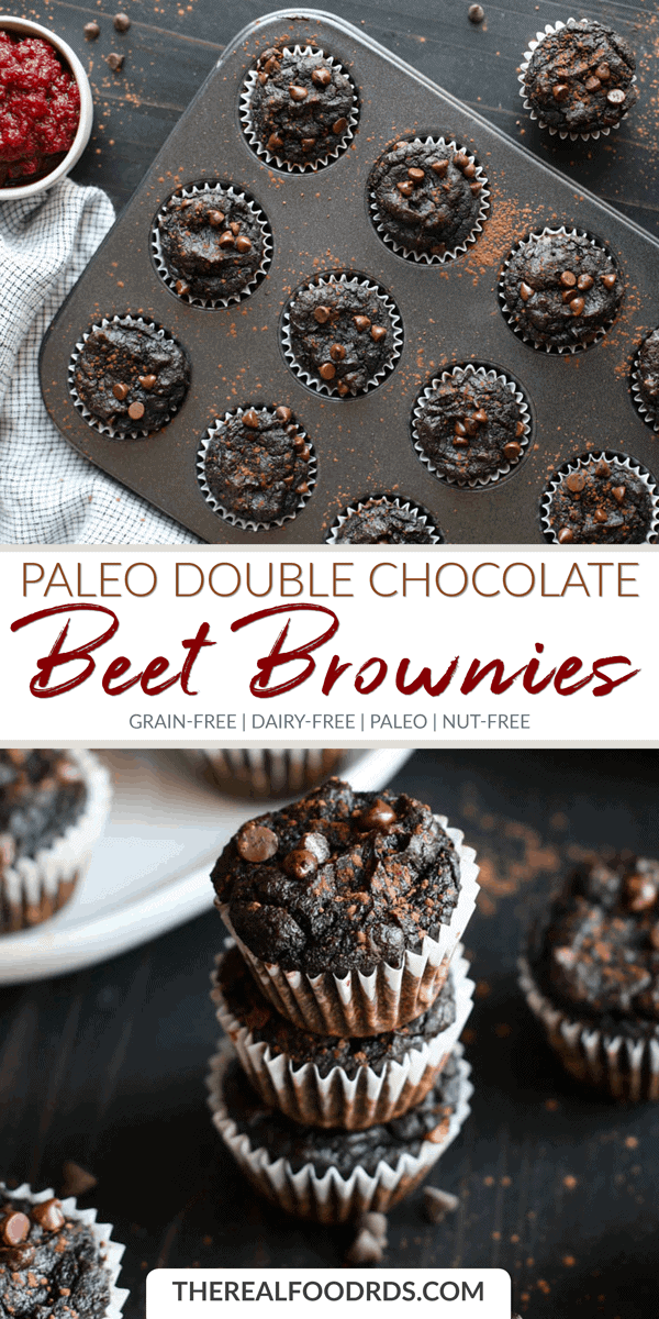 Long Pin Image for Paleo Double Chocolate Beet Brownies