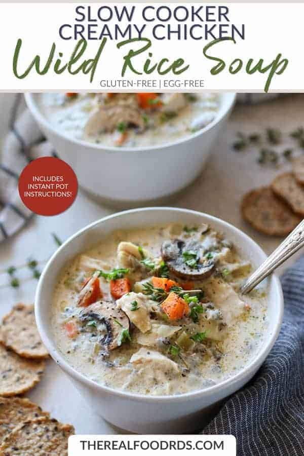 Short Pin Image for Slow Cooker Creamy Chicken Wild Rice Soup