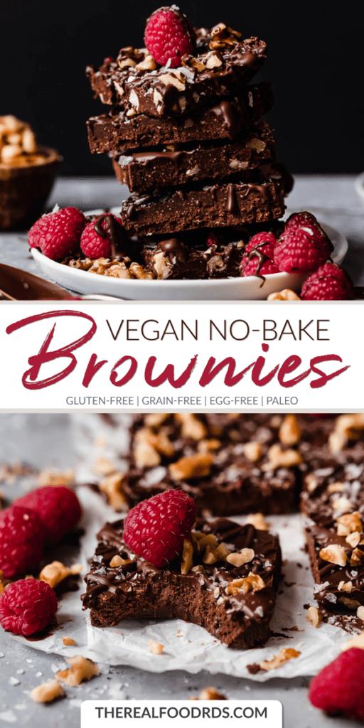 Long Pin Image for Vegan No-Bake Brownies