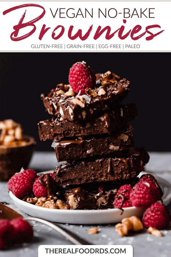 Short Pin Image for Vegan No-Bake Brownies