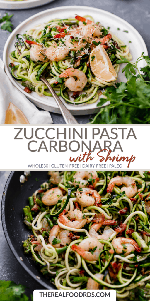 Long Pin Image for Zucchini Pasta Carbonara with Shrimp