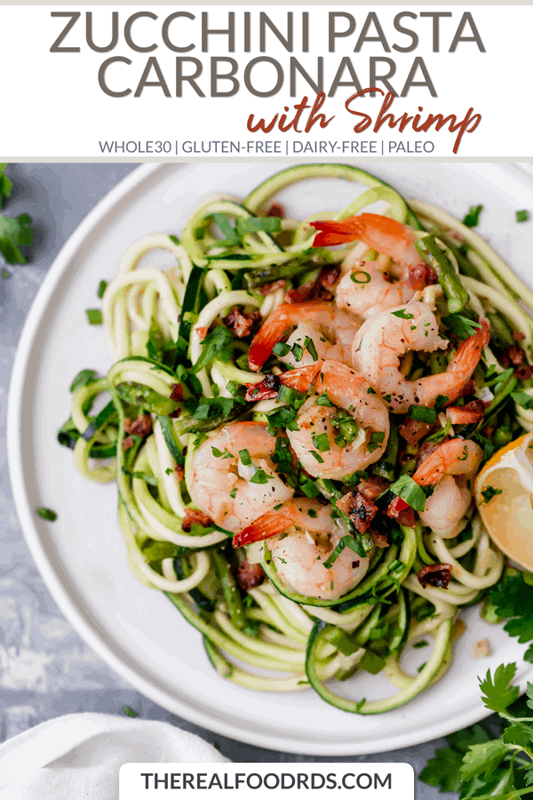 Short Pin Image for Zucchini Pasta Carbonara with Shrimp