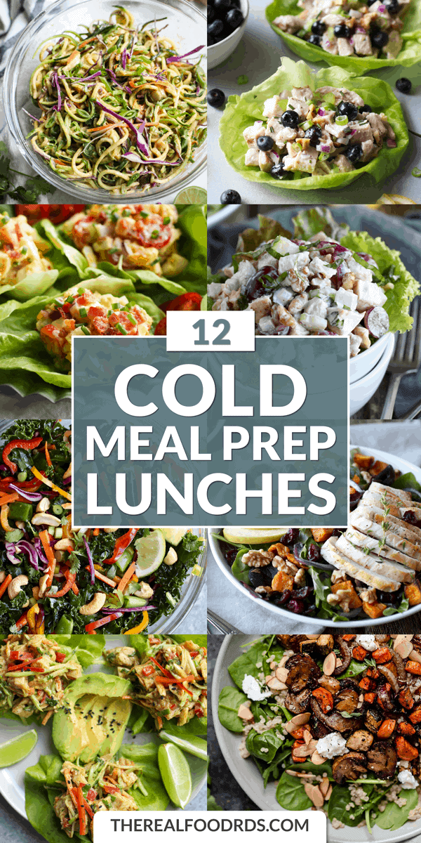 Long Pin Image for 12 Cold Meal Prep Lunches