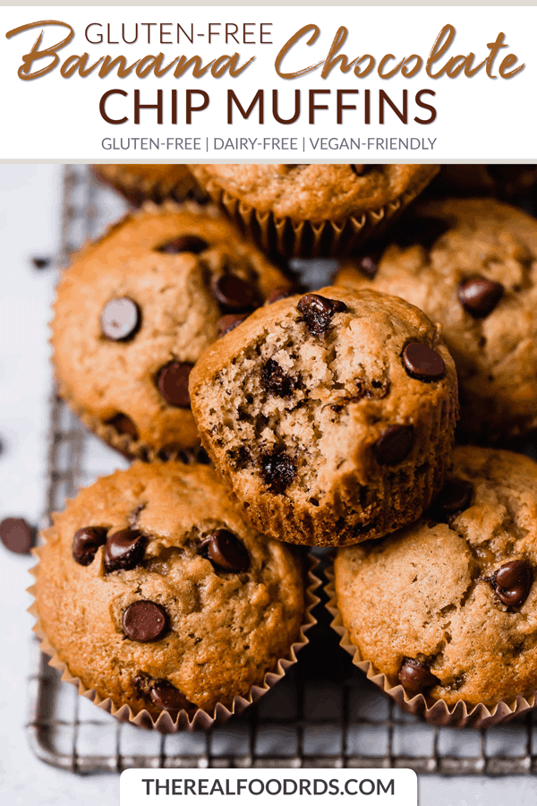 Short Pin Image for Gluten-free Banana Chocolate Chip Muffins