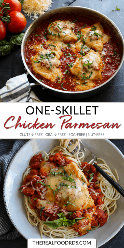 Long Pin Image for One-Skillet Chicken Parmesan