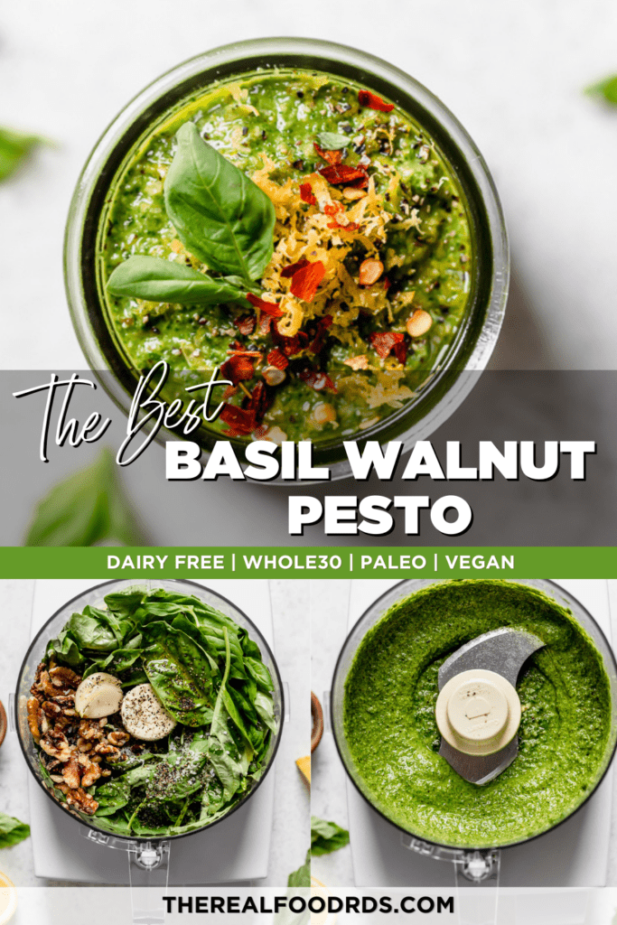 Basil walnut pesto in three stages; all ingredients in a food processor, freshly processes and smooth, in a small jar topped with red pepper flakes and fresh basil.