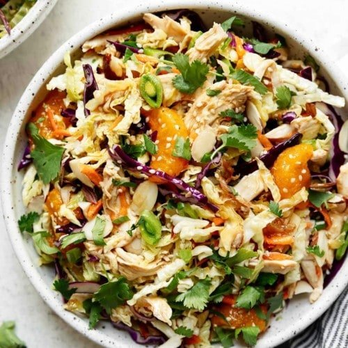 A large bowl filled with easy Chinese-inspired Chicken Salad