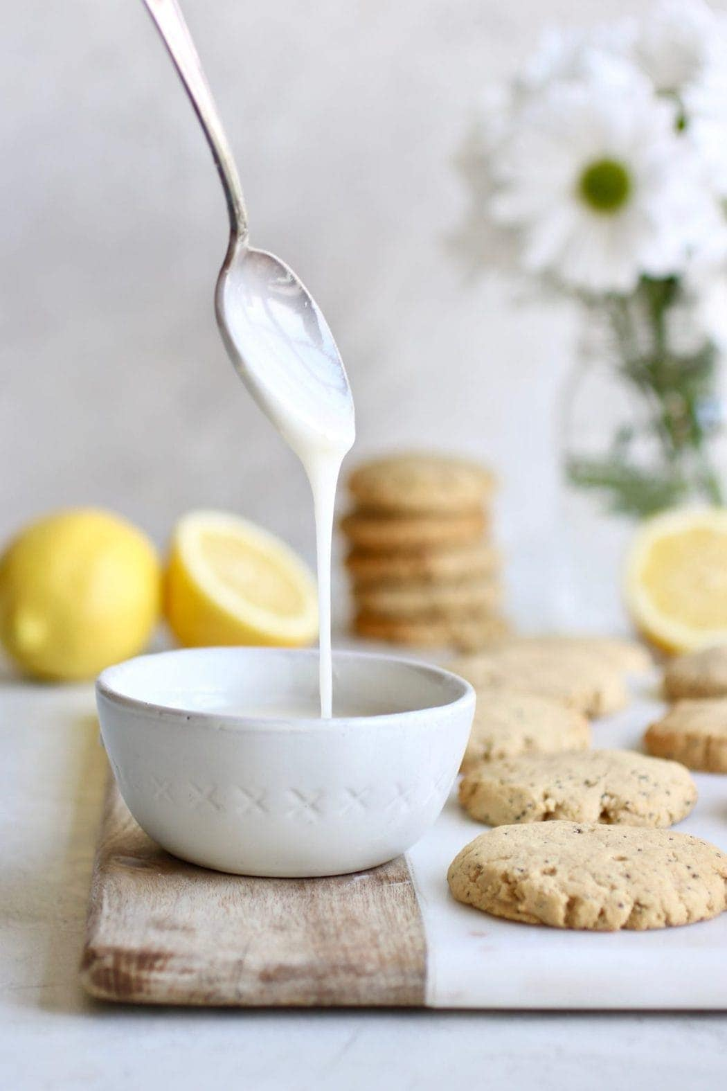 Photo of the lemon glaze that will be drizzled on the Paleo Lemon Poppy Seed Cookies.