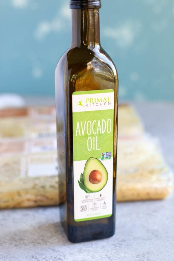 Bottle of Primal Kitchen Avocado Oil used for the 5 Easy Pork Marinades.