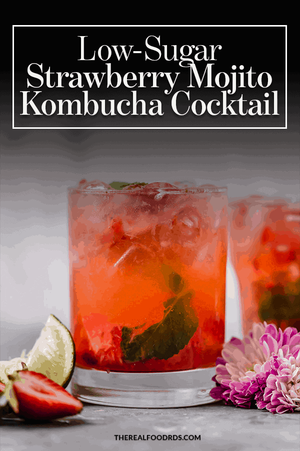 Pin image for Low-Sugar Strawberry Mojito Kombucha Cocktail