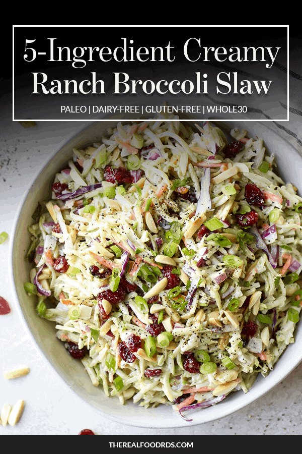 Pin image for 5-Ingredient Creamy Ranch Broccoli Slaw