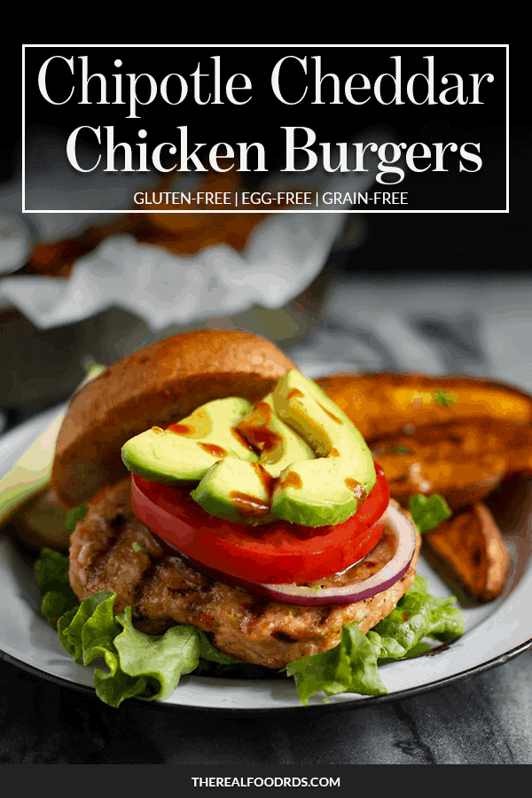 Pin Image with text for Chipotle Cheddar Chicken Burgers