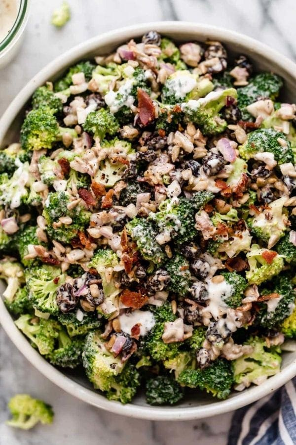 Creamy Mayo Free Broccoli Salad The Real Food Dietitians