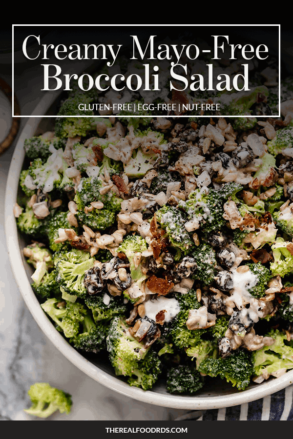 Pin Image for Creamy Mayo-Free Broccoli Salad