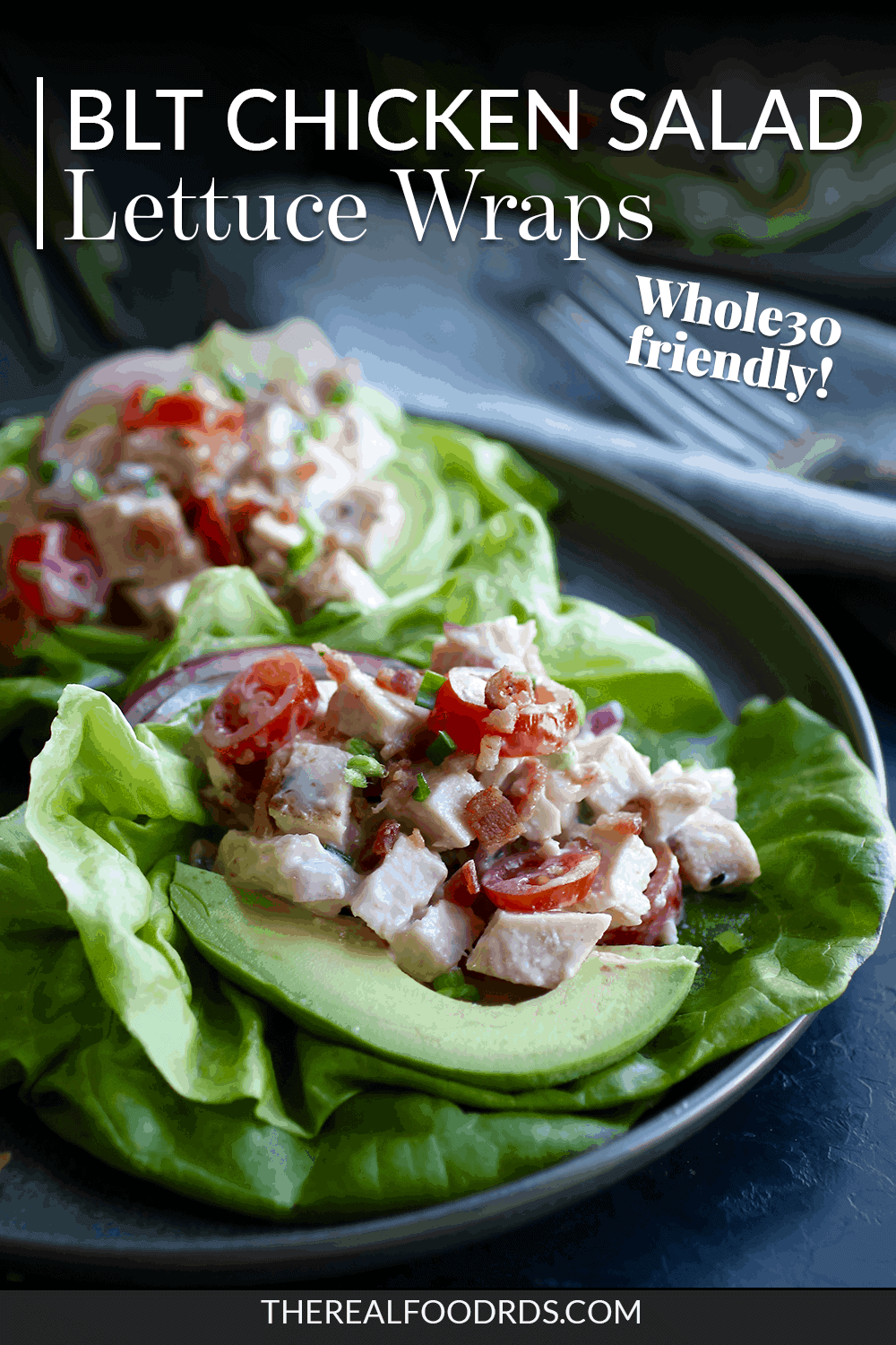 Pin image for BLT Chicken Salad Lettuce Wraps