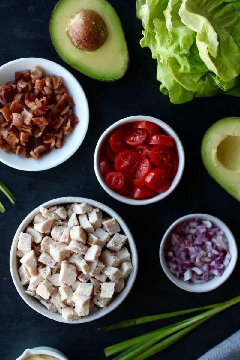 Photo of ingredients for BLT Chicken Salad Lettuce Wraps