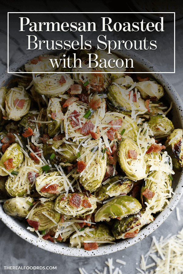 Pin image for Parmesan Roasted Brussels Sprouts with Bacon