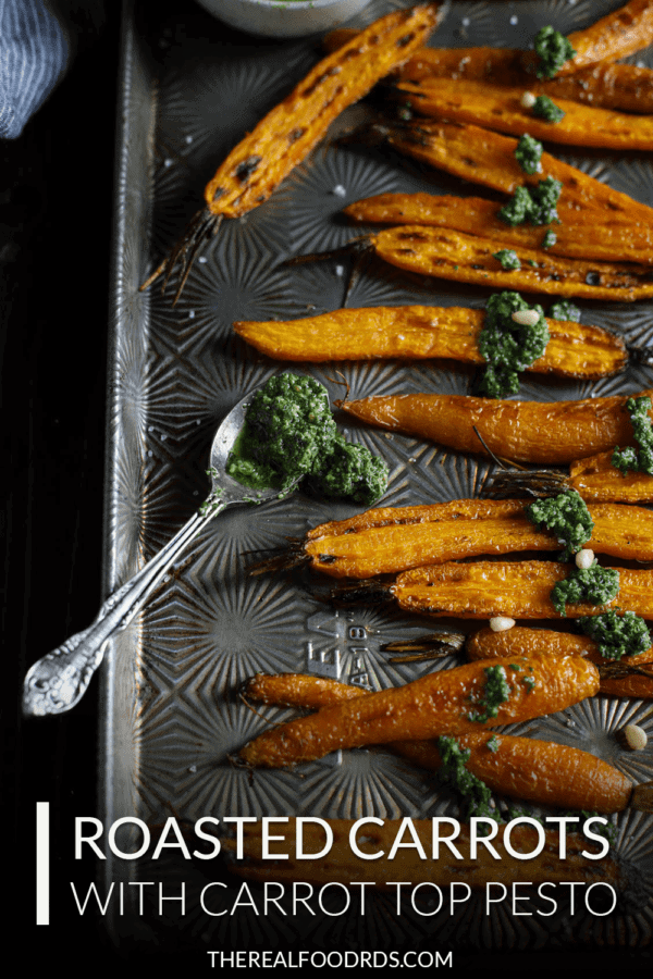 Pin image for Roasted Carrots with Carrot Top Pesto