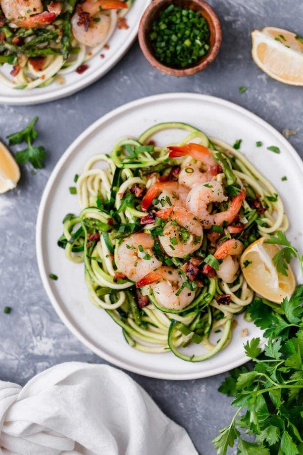 Plate of Zucchini Pasta Carbonara with Shrimp with link to the recipe.