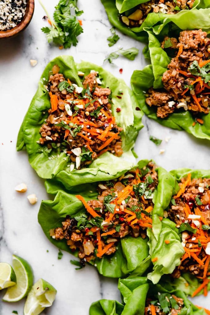 Chinese Pork Lettuce Wraps on a platter ready to be enjoyed. 1 of 10 Quick and Easy Dinner Ideas.
