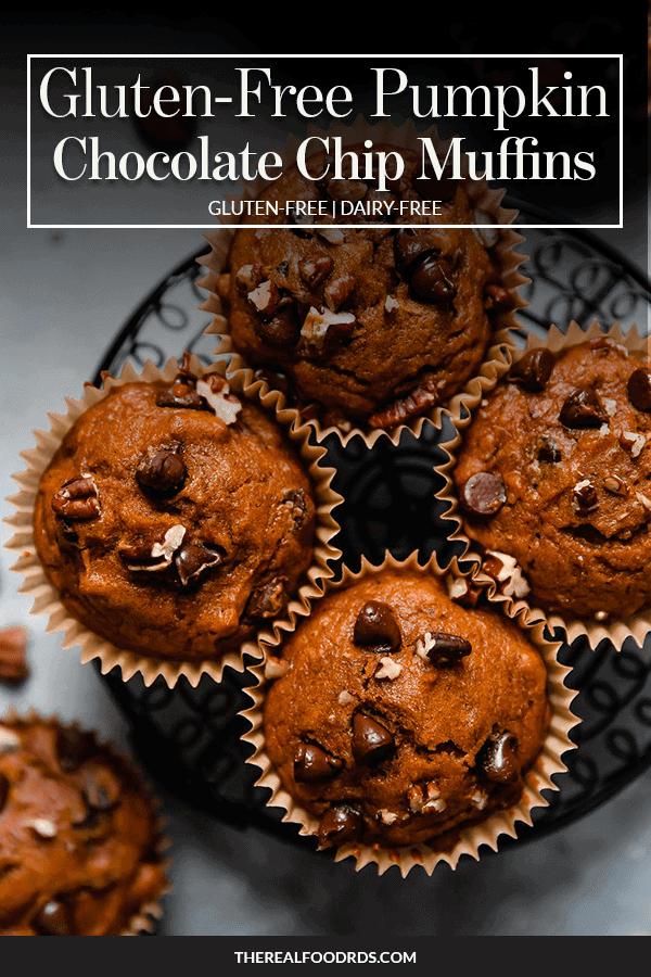 Pin image for Gluten-Free Pumpkin Chocolate Chip Muffins
