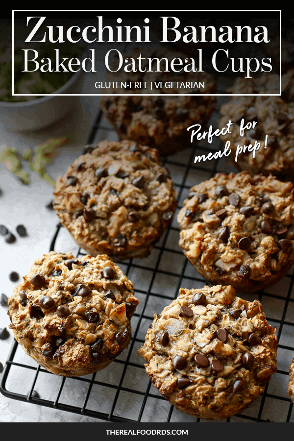 Pin image for Zucchini Banana Baked Oatmeal Cups