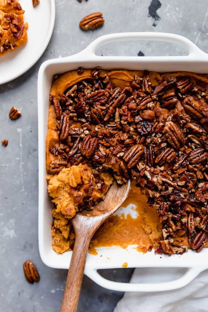 Baked Sweet Potato Casserole overhead shot with pecan topping