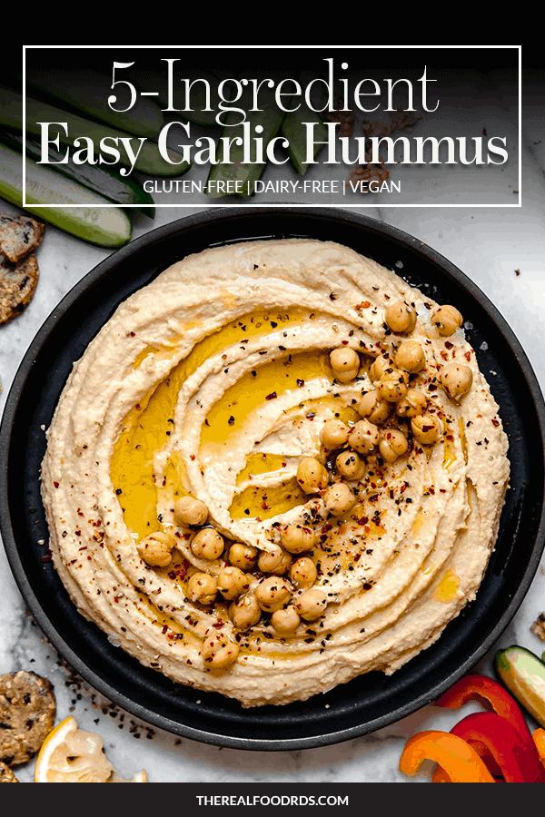 Pin image for 5-Ingredient Easy Garlic Hummus