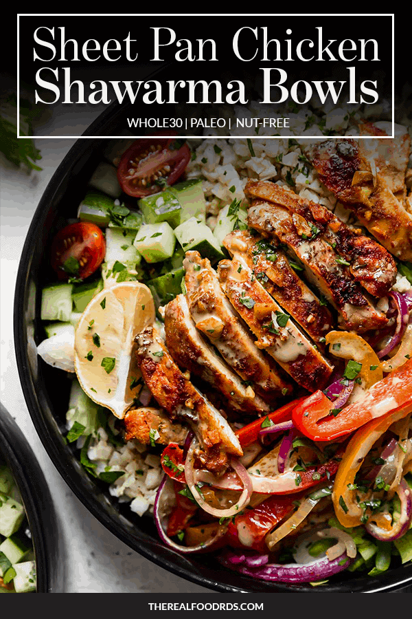 Pin image for Sheet Pan Chicken Shawarma Bowls