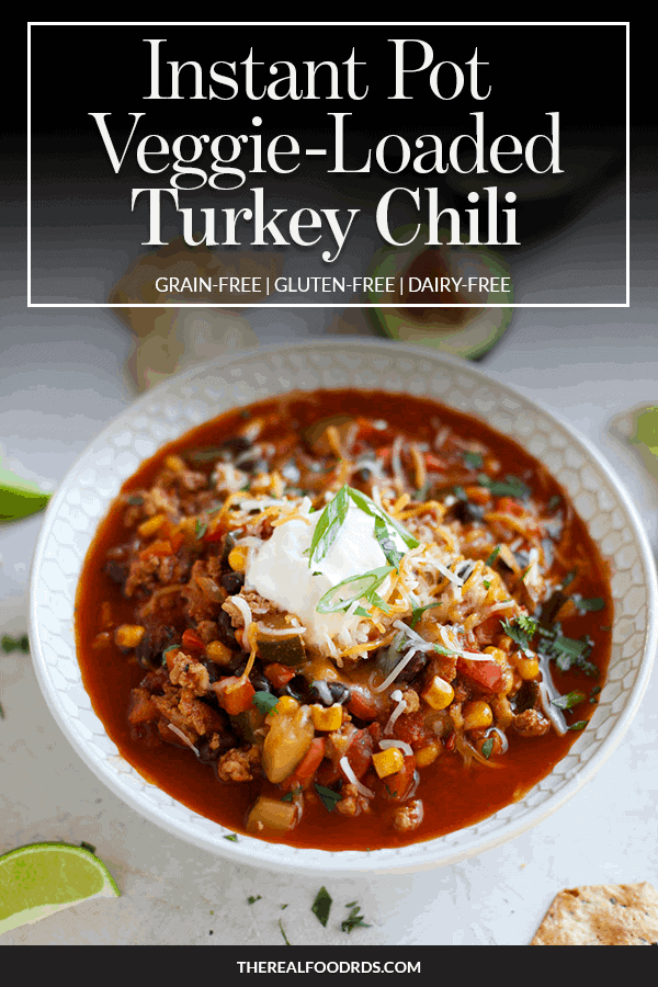 Pin image for Instant Pot Veggie Loaded Turkey Chili