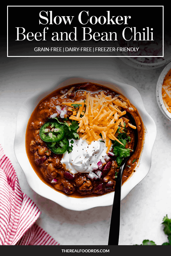 Pin image for Slow Cooker Beef and Bean Chili