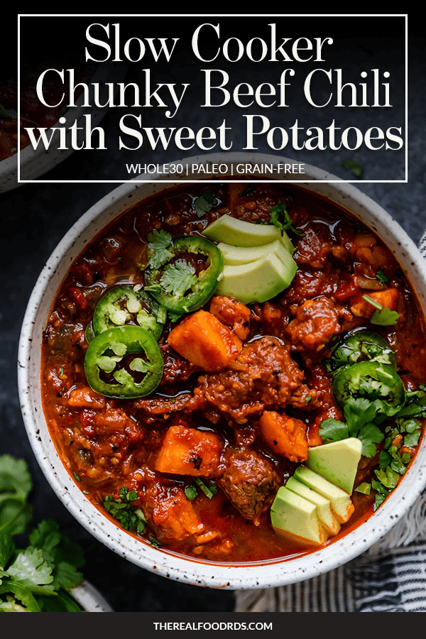 Pin image for Slow Cooker Chunky Beef Chili with Sweet Potatoes