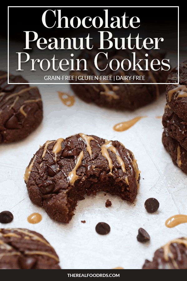Pin image for Chocolate Peanut Butter Protein Cookies