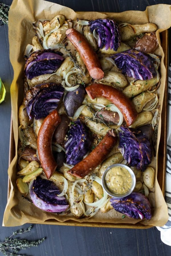 Sheet Pan Kielbasa Cabbage and Potatoes is a simple, budget-friendly meal that features the best of winter veggies.