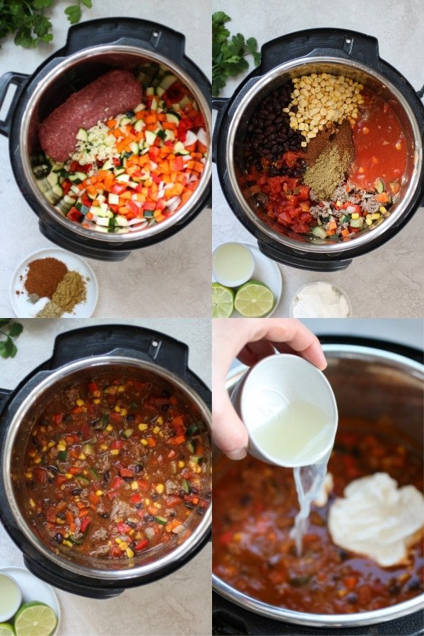 Collage of a photo-tutorial showing the steps for making Instant Pot Taco Soup.