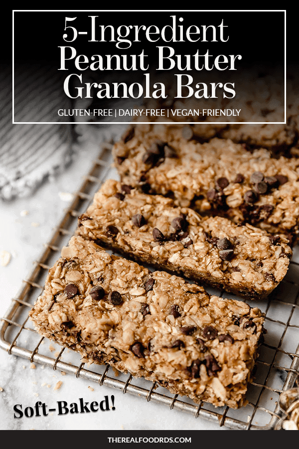 Pin image for 5-Ingredient Peanut Butter Granola Bars