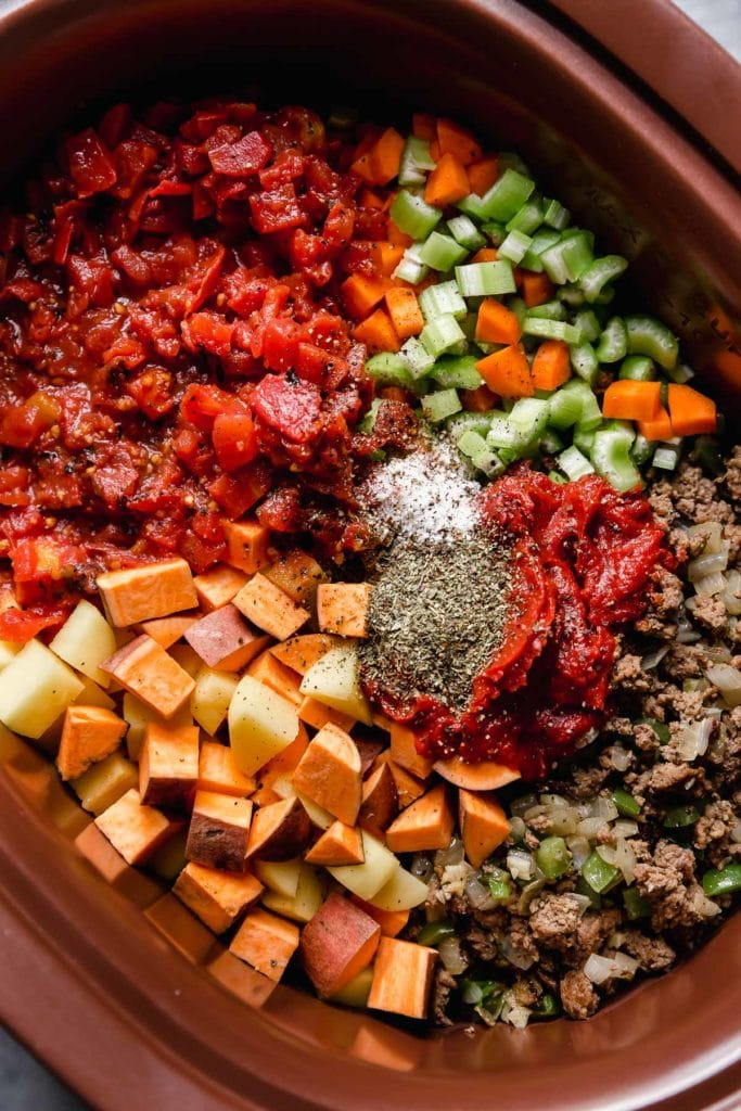 Ingredients in the slow cooker for Healthy Hamburger Soup