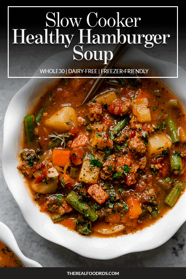 Pin image for Slow Cooker Healthy Hamburger Soup