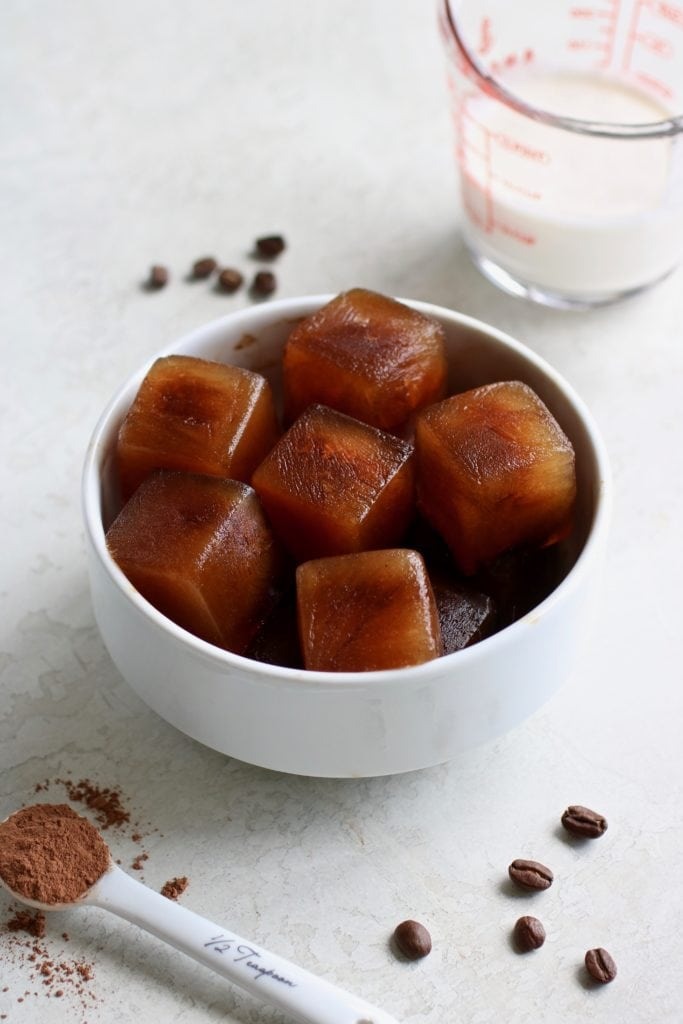 Coffee Ice Cubes in a white bowl
