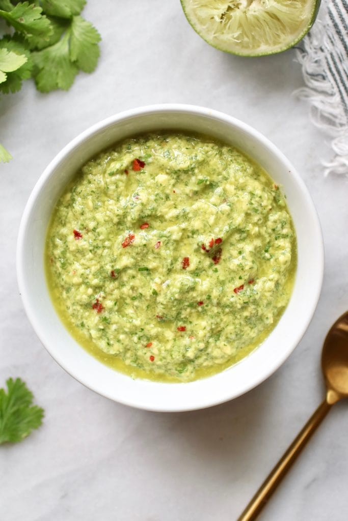 Photo of Avocado Green Sauce in a white bowl