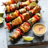 Pork Kebabs with Peanut Sauce ready to serve