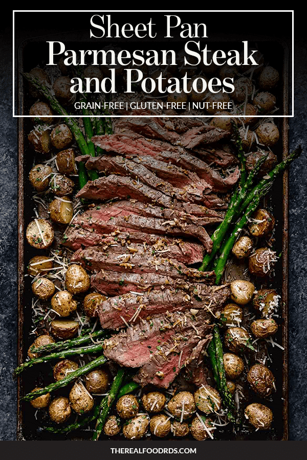 Pin image for Sheet Pan Parmesan Steak and Potatoes