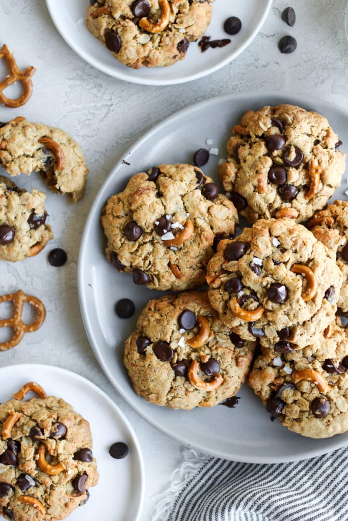 A plate of Peanut Butter Chocolate Chip Pretzel Cookies ready to be shared with the ones you love!