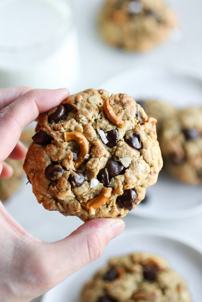 A hand holds a Peanut Butter Chocolate Chip Pretzel Cookie up for examination.